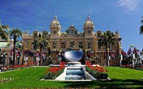Wallpaper palm trees, Maki, mirror, fountain, Monaco, casino, Palace, sculpture, Monte-Carlo