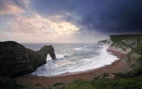 Picture sea, wave, beach, rocks, arch