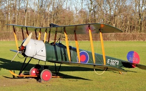 Picture field, grass, British, double, basic, Avro 504 Series, training aircraft, Avro 504 Series