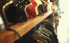 Picture style, leather, bokeh, helmets, jacket, bikers, shelf, helms, leather jackets, accesories, jackets