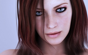 Picture girl, sexy, blue eyes, face, redhead, beautiful woman, pink lips, black eyes lined