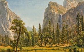 Picture trees, landscape, mountains, nature, picture, Albert Bierstadt, The Bridal Veil Falls. Yosemite. CA