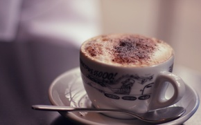 Wallpaper heat, background, mood, pattern, coffee, food, chocolate, milk, plate, spoon, mug, Cup, dishes, cappuccino, widescreen ...