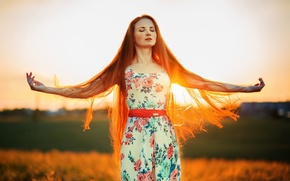 Picture Sunset, The sun, Girl, Catherine, Hair, Kate, Red