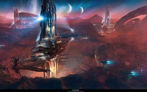 Picture tower, mountain, spaceship, planet, echoes