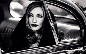 Picture auto, retro, portrait, makeup, hood