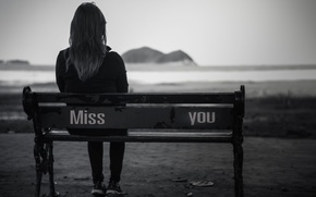 Picture sadness, girl, bench, loneliness, background, black and white, Wallpaper, sadness, mood, woman, blur, shop, girl, …