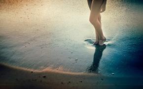 Wallpaper sand, water, shadow, legs