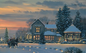 Picture winter, snow, lights, house, the plane, horse, tree, spruce, the evening, Christmas, lights, gifts, New ...