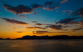 Picture the sky, clouds, sunset, mountains, lake