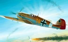 Picture the sky, fire, flame, war, smoke, fighter, Art, Messerschmitt, German, piston, single-engine, Bf.109, F-2, Friedrich, …
