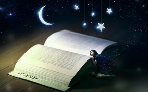 Picture girl, sleep, book