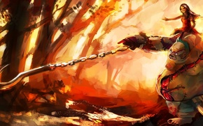 Picture forest, girl, trees, art, chain, painting, hook, Dota 2, Butcher, purplekecleon, Pudge
