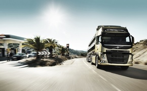 Picture dressing, Volvo, Blik, front, sun, Truck, tractor