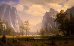 Wallpaper picture, painting, painting, Albert Bierstadt, Looking Up the Yosemite Valley