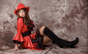 Picture look, model, hat, boots, brunette, Kleofia