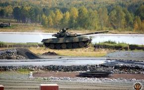 Wallpaper Russia, water, flight, t-90, tank, weightlessness