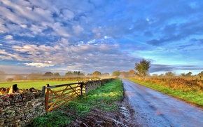 Picture road, landscape, the fence, morning