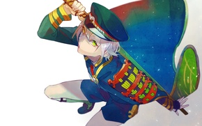 Picture shorts, katana, guy, game, cloak, cap, green eyes, military uniform, Touken Ranbu, Hotarumaru