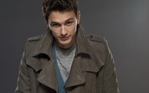 Picture actor, jacket, grey background, James Franco, James Franco