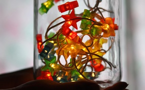 Picture glass, lights, holiday, new year, hand, Christmas, Bank, garland, colorful, palm, stars, light bulb, transparent, ...