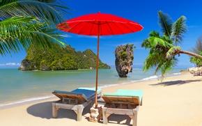 Picture sand, sea, beach, the sky, the sun, Islands, tropics, stones, palm trees, rocks, stay, shore, …