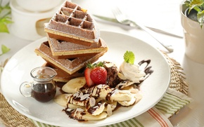 Wallpaper chocolate, strawberry, bananas, dessert, waffles