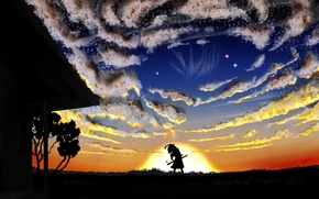 Picture the sky, girl, the sun, stars, clouds, sunset, nature, house, tree, sword, anime, art, Touhou, …