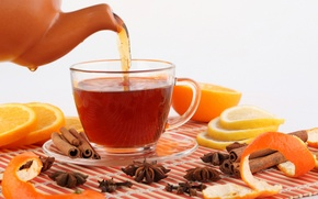Picture lemon, tea, orange, kettle, Cup, drink, fruit, cinnamon, citrus, carnation, spices, star anise