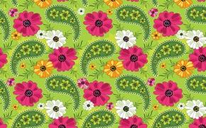 Wallpaper flowers, pattern, texture, petals, ornament, green background