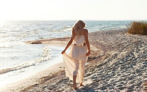 Picture sand, sea, beach, freedom, girl, nature, background, Wallpaper, mood, dress, blonde, belt, widescreen, full screen, …