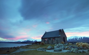 Picture the sky, clouds, snow, mountains, lake, house, stones, Church