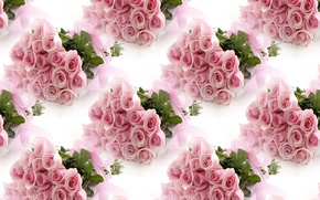 Picture flowers, pink, holiday, gift, roses, bouquet, texture, tape