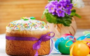 Picture eggs, spring, Easter, cake, flowers, spring, eggs, easter, violet