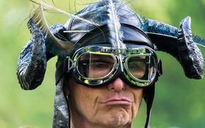 Picture portrait, man, glasses, horns, helmet, Viking