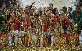 Picture the final, Moscow, rooney, cristiano ronaldo, victory, team, Champions League, players, final, anderson, rewarding, evra, …