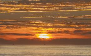 Picture twilight, sea, ocean, sunset, seascape, dusk, boats, fishing