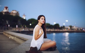 Picture Girl, The city, Model, Promenade, Girl, City, Hat, Beautiful, Model, Beautiful, Photography, Hat, Photography, Waterfront