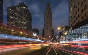 Picture road, street, building, New York, night city, Manhattan, Manhattan, New York City, skyscraper, Flatiron Building, …