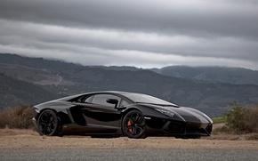 Picture Lamborghini, car, black, Aventador, Lamborghini-Aventador-passenger-side
