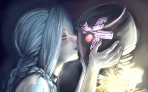 Picture girl, robot, kiss, art, braids, cross, League of Legends, LoL, Jinx