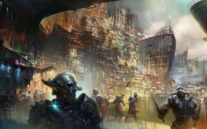 Picture the city, fiction, mask, art, armor, swords, warriors