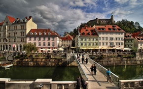 Picture street, building, home, channel, the bridge, bridge, street, Slovenia, capital, architecture, Slovenia, canal, Ljubljana, Ljubjana