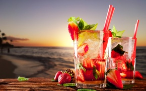 Picture sea, beach, strawberry, drinks, beach, sea, strawberry, drinks, cocktails, mint leaves, cocktails strawberry, mint leaves