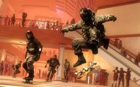 Picture soldiers, Board, skate, the trick, skateboard, Kickflip