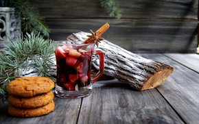 Wallpaper star anise, new year, needles, Board, Christmas, drink, Cup, cinnamon, branches, spices, pine, cookies, mulled ...