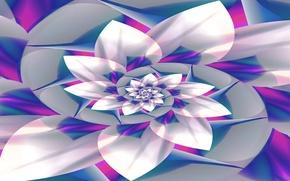 Picture flower, line, paint, spiral, petals, the volume