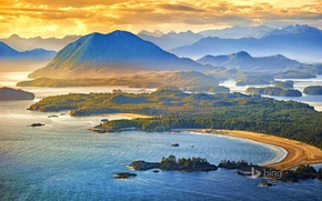 Picture sea, the sky, clouds, sunset, mountains, british columbia, canada, clayoquot sound, tofino