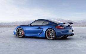 Picture blue, Porsche, Cayman, Porsche, rear view, GT4, Caiman