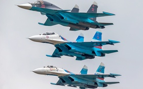Picture fighters, flight, Su-27, Su-34, Su-27UB